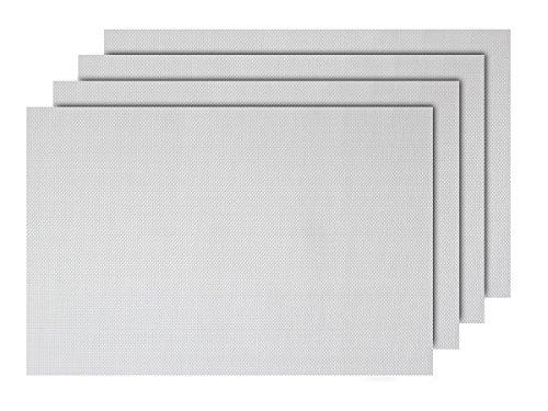 Lot de 4 Sets de Table Blanc (TS-112) Design Moderne décoration Sympa de qualité supérieure en PVC tressé: 45 x 30 cm. Le Set de Table a Un bel Aspect avec sa matière tissée et Brillante Élégante