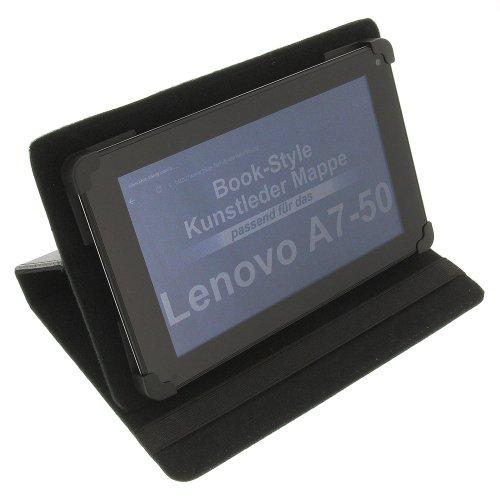 foto-kontor Tasche für Lenovo A7-50 A7-40 Tab 2 A7-10 Tab 2 A7-30 IdeaPad A3000 BookStyle Schutz Hülle Schwarz