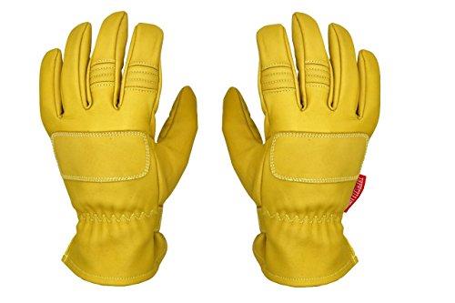THROTTLESNAKE Guantes Vintage de Cuero con Kevlar para Moto Amarillo Mostaza PIT VIPER † Mustard Yellow Old School Motorcycle Leather & Kevlar Racing Gloves (M)