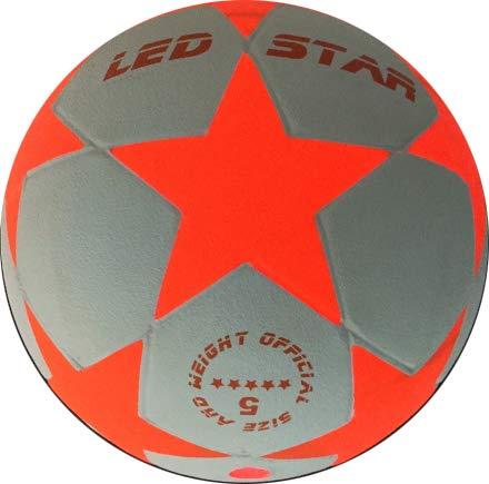 Balón de Fútbol que se Ilumina: El nuevo Champion : NIGHT KICK LED-STAR,LED Interior se enciende cuan- do se patea – Brilla en la Oscuridad - Alta calidad - Blanco/Rojo – Balón de Futbol de Juguete q