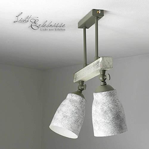 Raffinierte Deckenleuchte in Shabby Weiß Grau gemustert Vintage Design 2x E27 bis zu 60 Watt 230V aus Metall & Holz Küche Esszimmer Lampe Leuchten Beleuchtung innen