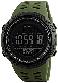 Mens Women Digital Sports Watch Ultra-Thin and Wide Angle Vision Design, 5ATM Swimming Waterproof, Countdown Dual Time Spl...