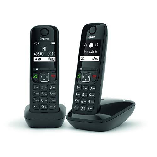 Gigaset AS690 Duo - Teléfono Inalámbrico, Pack de 2 Unidades, Manos Libres, Pantalla de Gran Contraste, Agenda de 100 Contactos, Color Negro