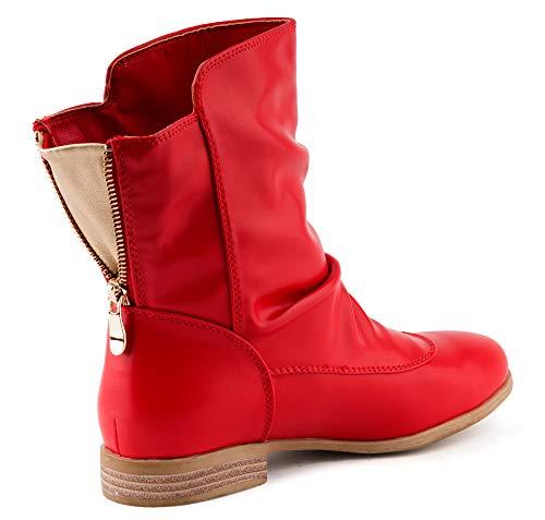 Fusskleidung Damen Schlupfstiefel Stiefeletten Boots Leicht Gefütterte Stiefel Schuhe Rot EU 38