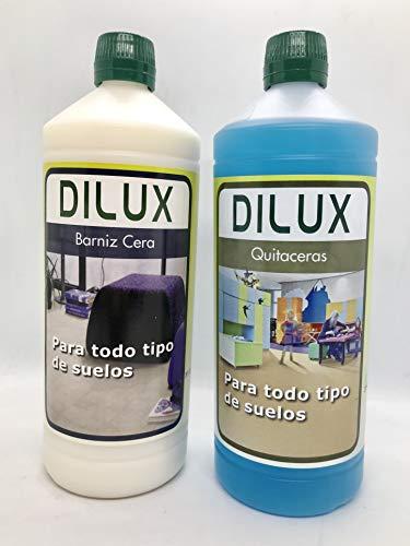 Dilux - Pack Barniz Cera para todo tipo de suelos 1 L + Quitaceras 1L