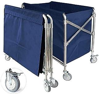 Panier à linge pliable bleu avec roue de frein et sac amovible