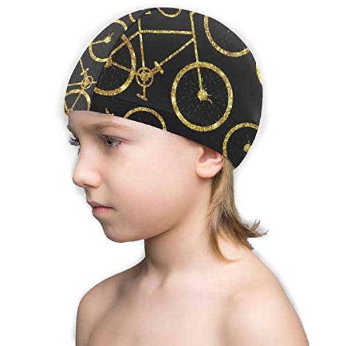 Kids Novelty Swim Cap Best Cycling Routes Haven'T Ridden Lycra Swimming Cap for Boy,Girls,Children White