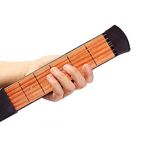 ERGGQAQ Mini Guitarra Bolsillo, Guitarra 6 Cuerdas Mano Izquierda, Herramienta Práctica Acústica Entrenador Acordes, con Bolsa Almacenamiento y Llave Hexagonal, para Principiantes Guitarra