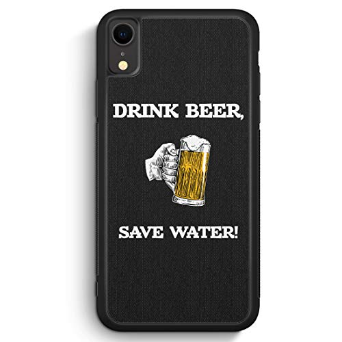 MUNIQASE Drink Beer, Save Water - Silikon Hülle für iPhone XR Cover - Motiv Design Spruch Lustig Cool Witzig Jungs Männer Bier - Handyhülle Schutzhülle Hülle S