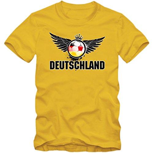 Deutschland WM 2018#3 T-Shirt | Herren |Trikot | Nationalmannschaft, Farbe:Gelb (Gold L190);Größe:XL