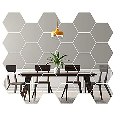 Hexagon Mirror Wall Stickers [24 Pack] Removable Hexagon Mirror Tiles for Walls (Small - 5.6in) Acrylic Honeycomb Mirror Tiles for Living Room Decoration & Home Décor - Self Adhesive Aesthetic Tiles