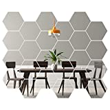 Hexagon Mirror Wall Stickers [24 pack] Removable Hexagon Mirror Tiles For Walls (Small - 22 x 25) Acrylic Honeycomb Mirror Tiles For Living Room Decoration & Home Décor - Self Adhesive Aesthetic Tiles