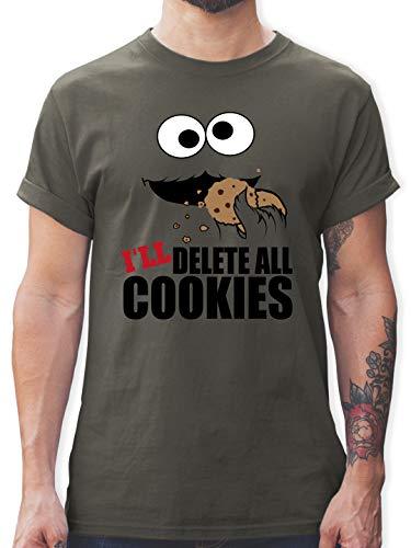 Nerds & Geeks - I Will Delete All Cookies Keks-Monster - L - Dunkelgrau - Nerd - L190 - Tshirt Herren und Männer T-Shirts