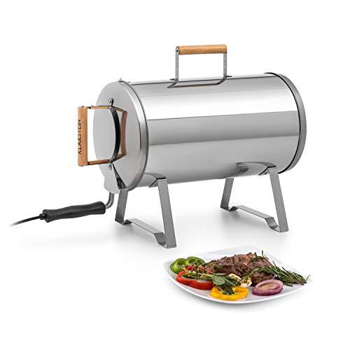 Klarstein Gourmet Barrel Smoker Räucherofen (rostfreier Edelstahl: 0,6 mm, hitzeresistente Griffe aus Holz, Plug & Play Concept, inkl. Räucherrost, Öl- und Holzschnitzelwanne) silber