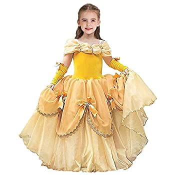 CinheyU Girls Belle Princess Birthday Dress Beauty and the Beast Costume Halloween Christmas Cosplay Party Ball Gown Yellow 000 6-7T