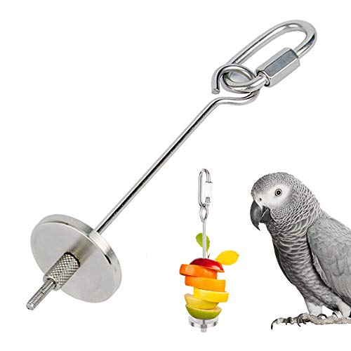 THETAG Papageien-Spieß, Edelstahl Vogelspielzeug Papageien Lebensmittel Aufsteckspindel Nahrungsmittelfleisch Frucht Stock Stangen Halter (L)