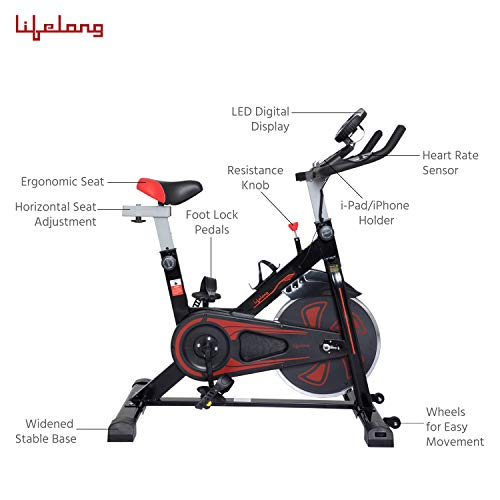 LifelongLLF45 Fit Pro Spin Fitness Bike with 6Kg Flywheel, Adjustable Resistance and heart rate sensor (1 year warranty)