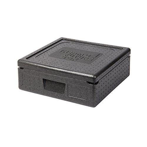 Thermo Future Box Quadratische Thermobx Kühlbox Transportbox Warmhaltebox und Isolierbox mit Deckel, Thermobox aus EPP (expandiertes Polypropylen), Schwarz, 12 l