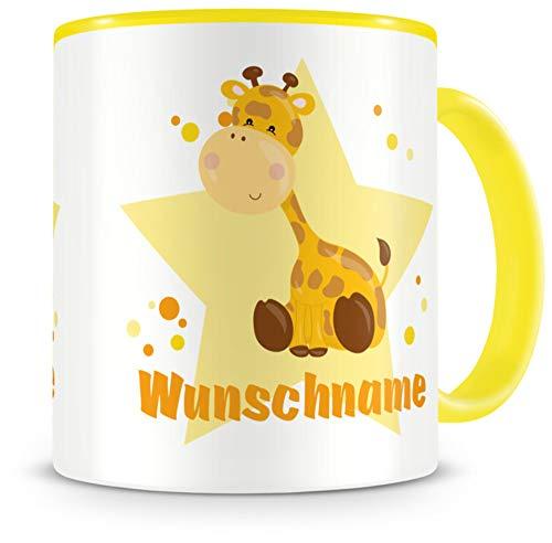 Samunshi® Kindertasse mit Namen Tasse Giraffe Personalisierte Tasse mit Namen Kinder Kinderbecher mit Namen Kindergarten gelb 300ml
