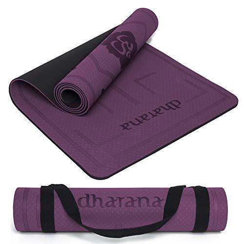 Dharana Esterilla Yoga Mat Antideslizante Profesional- Colchoneta Gruesa para Deportes - Gimnasia Pilates Fitness - Ecológica -183cm Largo - 61cm Ancho - 0.6cm Grosor