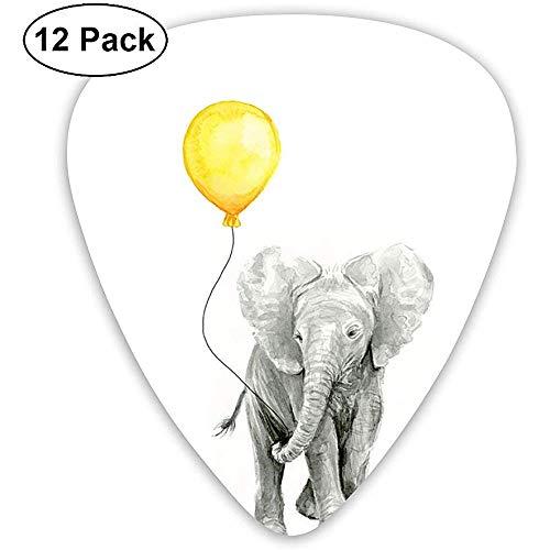 Olifant baby aquarel met gele ballon klassieke gitaar picks (12 Pack) voor elektrische gitaar, akoestische gitaar, mandoline en bas