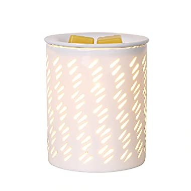 COOSA Ceramic Raindrop Pattern Oil Warmer Electric Incense Wax Tart Burner Fragrance Candle Wax Warmer Night Light Aroma Decorative Lamp for Home Office Bedroom Living Room Gifts & Decor