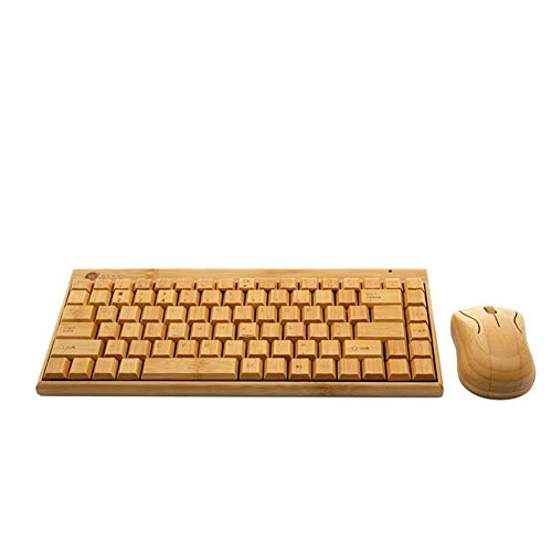 WPCBAA Nano ontvanger 2,4 GHz volledige bamboe handgemaakte draadloos toetsenbord en muis Combo