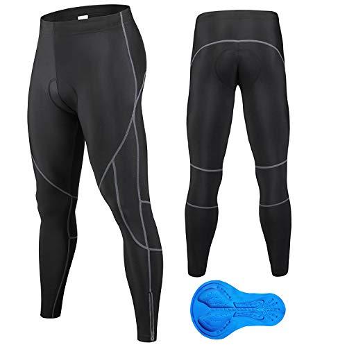 JEPOZRA Pantalones de ciclismo de invierno para hombre, largos con acolchado de gel 4D, para bicicleta de montaña, transpirables, de compresión, térmicos, pantalones deportivos, Negro, XX-Large