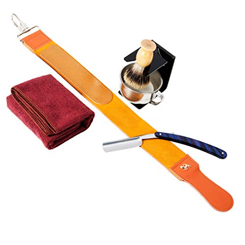Grandslam Shaving Straight Razor Kit, Steel Cutthroat Straight Razor With Leather Strop, Sharp, Pure Badger Hair Shaving Brush with Wooden Handle,Shaving Bowl,Soap and Stand, Gift for Men