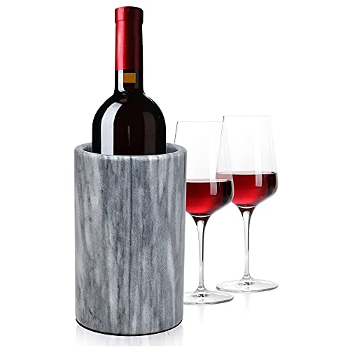 Modern Innovations Wine Chiller Elegant Grey Marble Wine Bottle Cooler Keeps Wine and Champagne Cold with Multipurpose Use as Kitchen Utensil Holder and Flower Vase - Holds 750ml Sized Bottles (Grey)