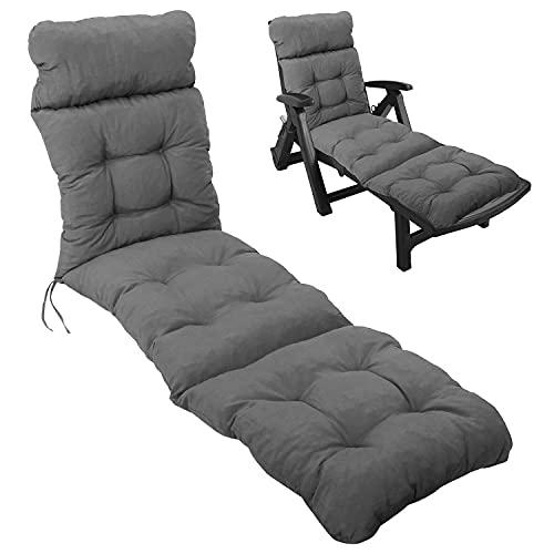 Multistore 2002 Deckchair Sitzauflage 200x50cm 8cm dick Sitzpolster Polsterauflage Outdoorkissen - Grau