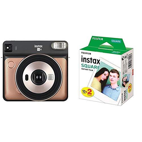 Fujifilm Instax SQ 6 EX D Sofortbildkamera, Blush Gold + Instax Square WW2 Colorfilm klar