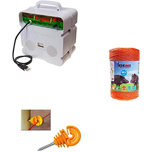 Recinto elettrico Kit con 1 x Elettrificatore 220V + 1 x Filo 500 MT 6 Mm² + 100 pz isolatori per paletti in legno - Recinzione Elettrica Per Cinghiali Mucche Cavalli Maiali Cervi Istrici