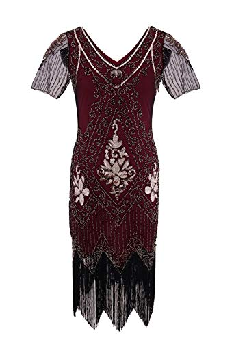 Frieed strapless tuniek hand geborduurd golvende sequined V-hals korte mouwen jurk banketjurk patchwork