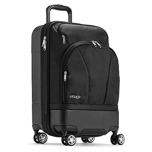 eBags TLS Hybrid (Hardside/Softside) Spinner Expandable Luggage - 22-inch - Carry-On - (Black)