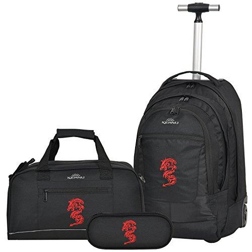 Premium Schulset 3 Teile :: Schultrolley Schulranzen 35 Liter KEANU hochwertiger XL Schulrucksack Rucksack Driver + passende Sporttasche + Etui Box Mäppchen (Red Dragon)