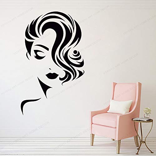 wen-shhen Wall Stickers for bedrooms for Boys Wall Stickers Living Room Mädchen Gesicht Vinyl Wandaufkleber Wandaufkleber Schönheitssalon Dekoration Friseur Mode Model 57X88CM