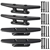 VEITHI 6 inch Black Nylon Dock Cleat (4 Pack), Used for Kayak/Boat Small Vessels/Canoe/Mooring Deck Mount.Hardware Included.