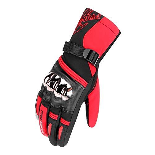 MdsfexixianxinquGuanti da moto per uomo e donna protezione guanti da moto invernali impermeabili e antivento touch screen guanti da moto - MTV-10 rosso, XXL
