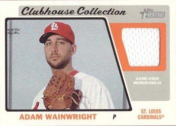 2015 Topps Heritage Clubhouse Collection Relics #CCR-AW Adam Wainwright Game Worn Jersey Baseball Card - Near Mint to Mint