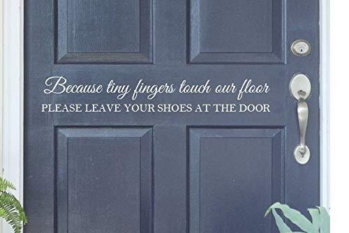 Schoenen uit omdat kleine vinger raak onze vloer Verwijder uw schoenen op de deur Kids Vinyl Decal Home Muursticker