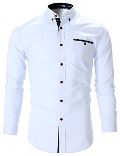 FLATSEVEN - Camicia slim fit elasticizzata casual a quadri topping uomo (SH179) bianco, XXL