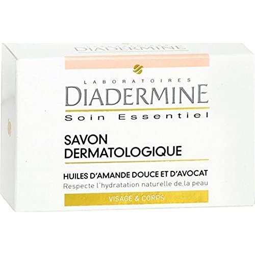 DIADERMINE Soin Essentiel Savon Dermatologique Huiles d?Amande Douce et d?Avocat Visage & Corps 100g (lot de 10)