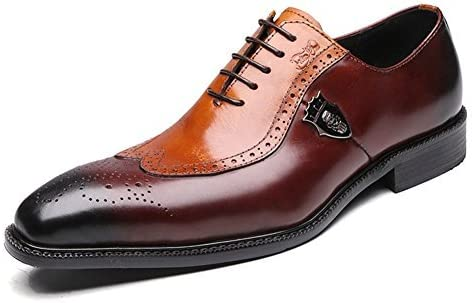 Mens Genuine Leather Dress Shoes Wing Tipped Pointed Toe Classic Brogue Oxfords Lace-Up Zip Oversized Shoes 15 Man
