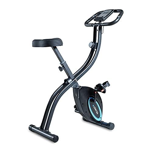 LONTEK Bicicleta Estática Plegable, 16-Niveles de Magnetorresistencia Ajustable, Bicicleta Estática Fitness Silenciosa para Casa, Bicicleta de Ejercicio con Sensor de Pulso, Peso Máximo 100KG