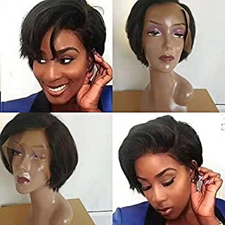 10A Full Remy Human Hair Lace Front Wigs Short Pixie Cut Wigs 150 Density Short Bob Side Part Wigs Lace Front Brazilian Human Hair Wigs (Natural Color)