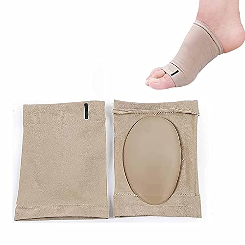 Juyuntong 5Pairs Elastic Silicone Foot Arch Correction Socks - Compression Ankle Brace/Ankle Support/Plantar Fasciitis Pads Sock,Arch Supports for Flat Feet Women Men in Sandals (Khaki)