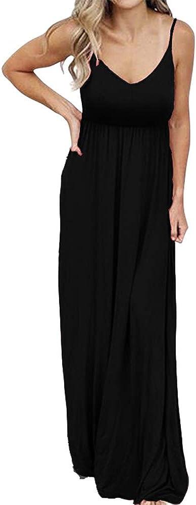 PRIMODA Women's Summer Casual Sleeveless V Neck Adjustable Spaghetti Strap Maxi Long Dress