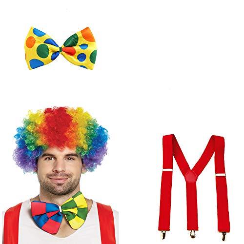 L+H Clown Kostüm Set 1x Perücke 1x Fliege 1x Hosenträger | 3-teiliges Premium Set | perfekt abgestimmte Farben | geeignet für Karneval, Kindergeburtstag, Hochzeit, Fasching usw.