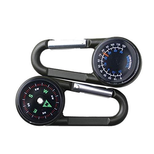 Leezo 3-en-1 Mousqueton léger Multifonction Thermomètre de Boussole de Haute précision Anneau Porte-clés pour Voyager Randonnée Randonnée Camping en Plein air